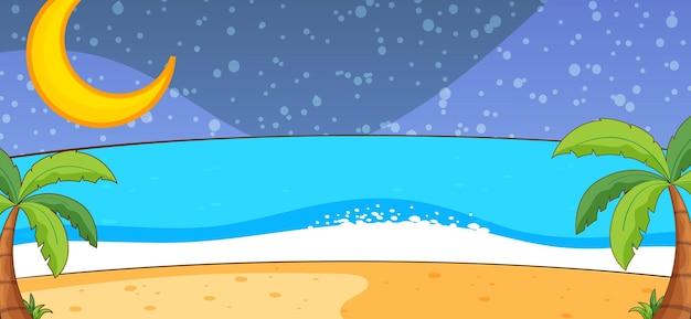 Scène de nature plage vide la nuit dans un style simple