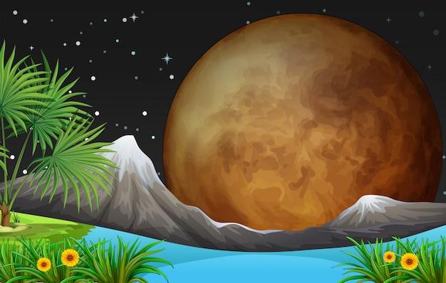 Scène de la nature avec la pleine lune la nuit