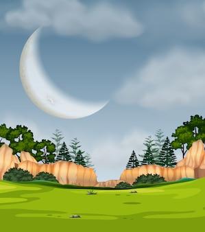 Scène nature pleine lune