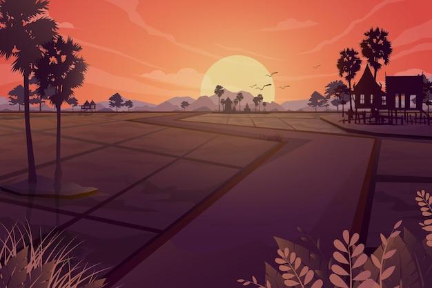 Scène de la nature de la prairie agricole des terres rurales, silhouette abstraite des agriculteurs asiatiques travaillant au champ de riz, illustration