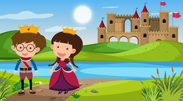 Scène nature avec roi et reine au bord de la rivière