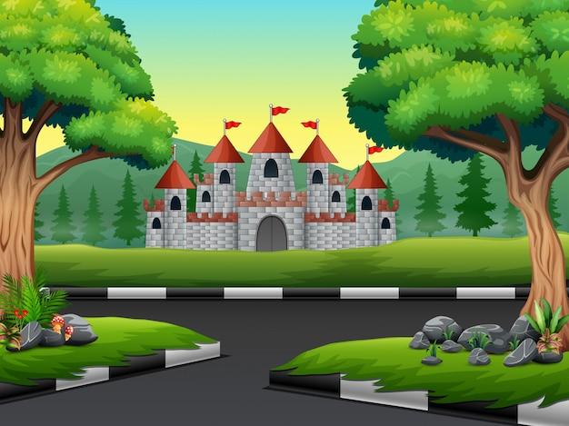 Scène de la nature avec la route du château