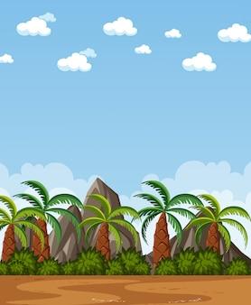 Scène de nature verticale ou campagne de paysage avec vue sur les arbres de plam et ciel blanc pendant la journée
