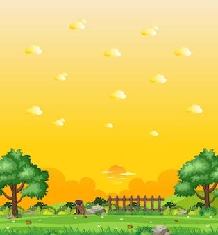 Scène de nature verticale ou campagne de paysage avec vue sur la forêt et vue sur le ciel coucher de soleil jaune