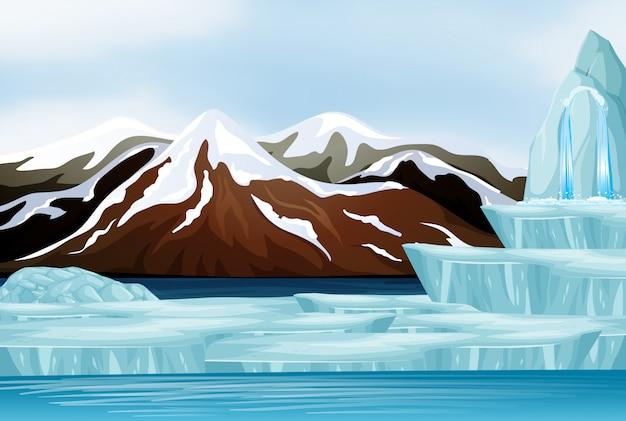 Scène de neige sur les montagnes