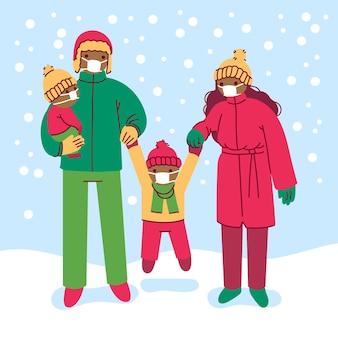 Scène de neige de noël - porter des masques