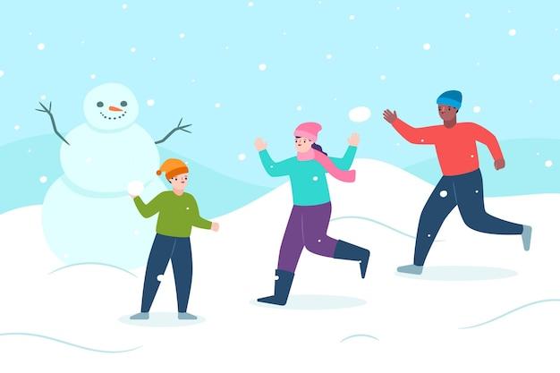 Scène de neige de noël