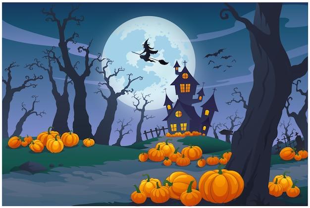 La scène nocturne de la nuit d'halloween est si belle.
