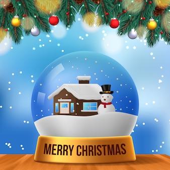 Scène de noël maison boule de neige bonhomme de neige 3d avec ciel bleu et feuilles de sapin guirlande et table en bois pour la décoration de fête