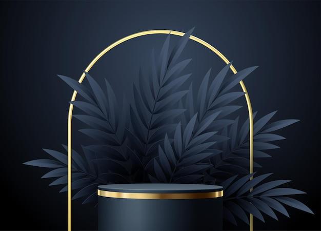 Scène noire minimale avec des formes géométriques et des feuilles de palmier. présentoir de produits élégant