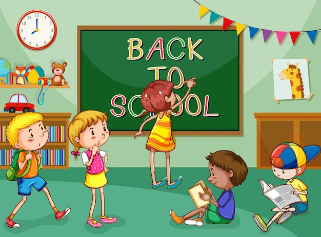 Scène avec de nombreux enfants apprenant en classe