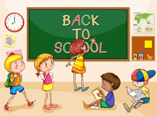 Scène avec de nombreux enfants apprenant à l'école