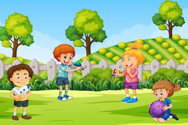 Scène avec de nombreux enfants dans le parc