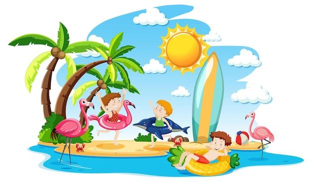 Scène avec de nombreux enfants jouant sur l'île