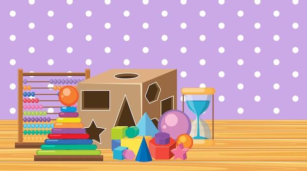 Scène avec de nombreux jouets dans la chambre
