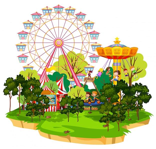 Scène avec de nombreux manèges dans le funpark sur fond blanc