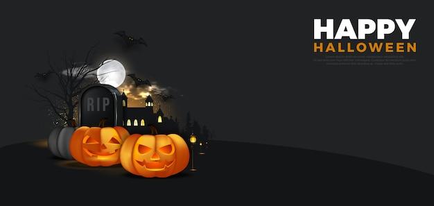Scène de nuit d'halloween avec bannière
