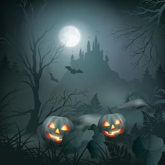 Scène de nuit d'halloween avec citrouille et château