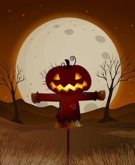 Scène de nuit halloween pleine lune
