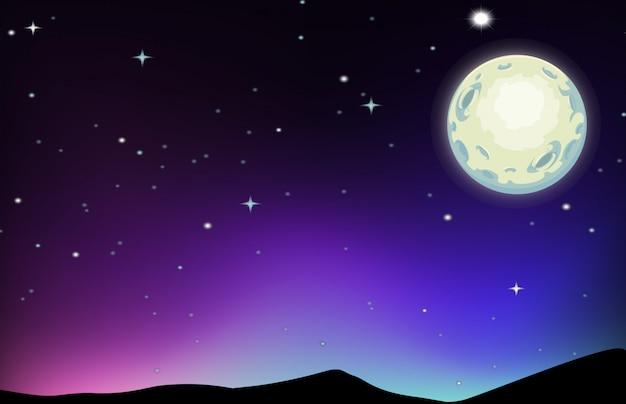 Scène de nuit avec lune et étoiles