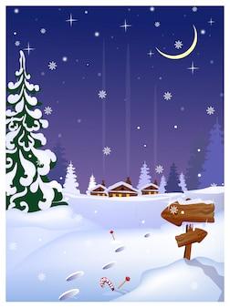 Scène de nuit avec des maisons lointaines, signe de flèches en bois