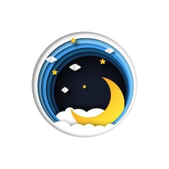 Scène de nuit avec des nuages, des étoiles et le croissant de lune