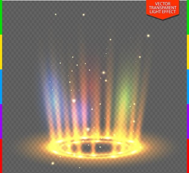 Scène de nuit de rayons lumineux jaune rond avec des étincelles sur transparent