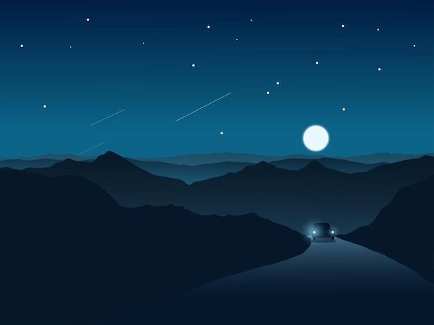 Scène de nuit de route avec lune et montagne