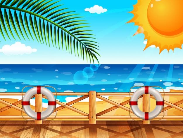 Scène avec océan en été