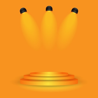 Scène orange sur la salle de mur de gradient de studio