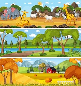 Scène panoramique de paysage naturel avec personnage de dessin animé