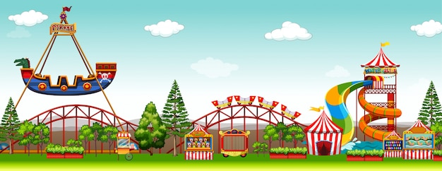 Scène de parc d'attractions avec manèges