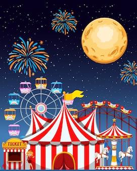 Scène de parc d'attractions la nuit avec feux d'artifice et lune dans le ciel