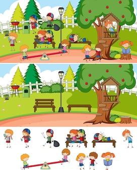 Scène de parc avec de nombreux enfants doodle personnage de dessin animé isolé