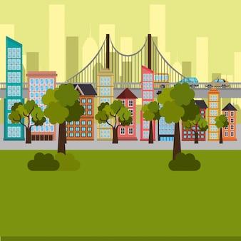 Scène de parc et paysage urbain