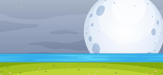 Scène de parc vide la nuit avec la grande lune dans un style simple