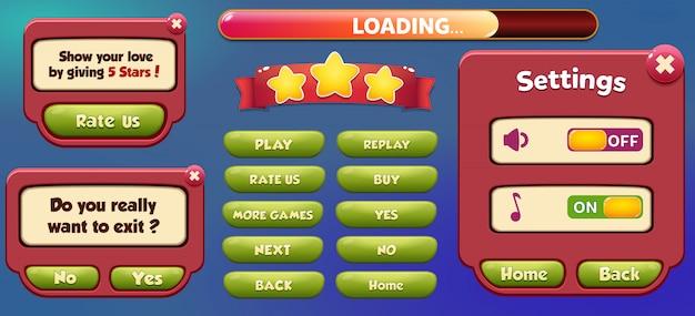 Scène pause du menu contextuel avec musique et boutons sonores menu complet du jeu ui