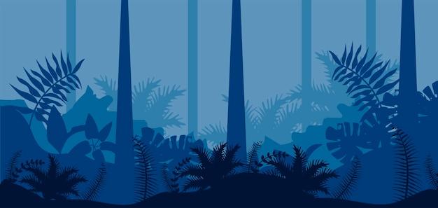 Scène de paysage bleu nature jungle
