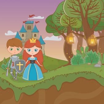 Scène de paysage de conte de fées avec château et couple d'amoureux