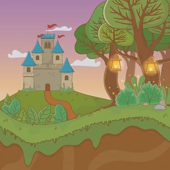 Scène de paysage de conte de fées avec château