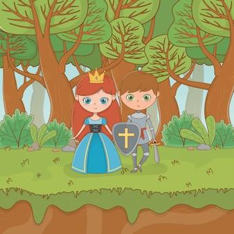 Scène de paysage de conte de fées avec princesse et guerrier