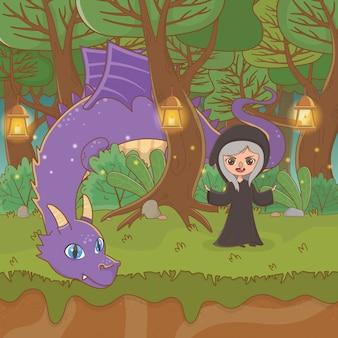 Scène de paysage de conte de fées avec sorcière
