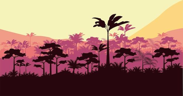 Scène de paysage coucher de soleil jungle nature sauvage