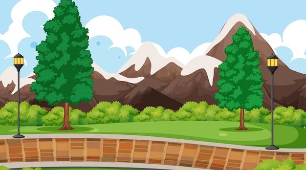 Scène de paysage du parc de montagne