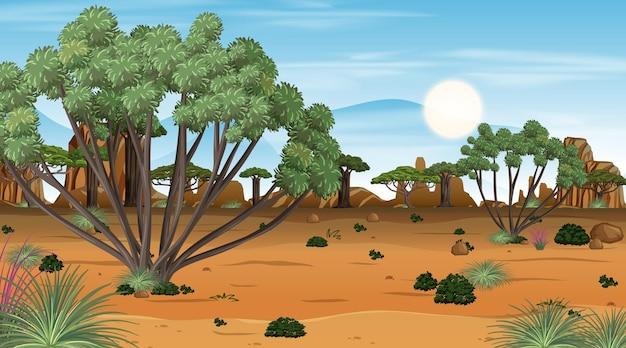 Scène de paysage de forêt de savane africaine au moment de la journée