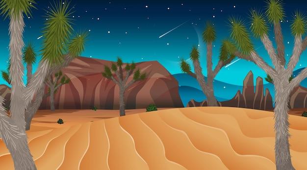 Scène de paysage de forêt de savane africaine la nuit