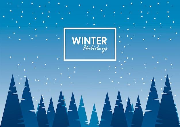 Scène de paysage d & # 39; hiver bleu beauté et lettrage avec illustration de cadre carré