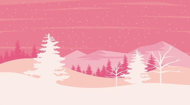 Scène de paysage d'hiver rose beauté avec illustration d'arbres de pins