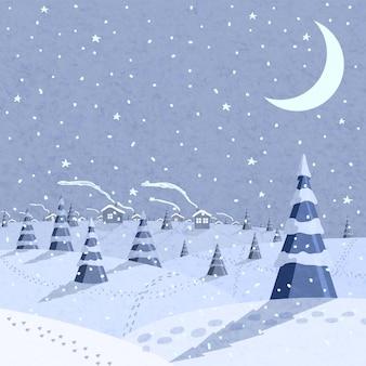 Scène de paysage d'hiver