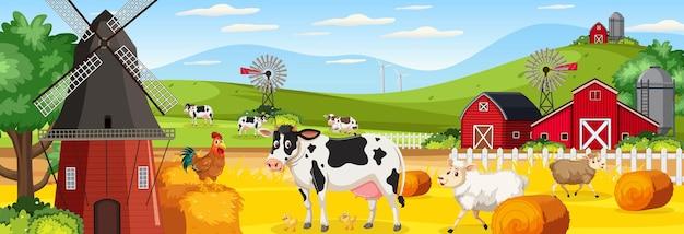 Scène de paysage horizontal de ferme avec des animaux de ferme